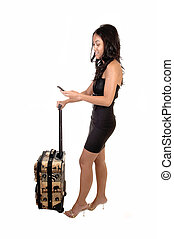 Asian girl with suitcase.