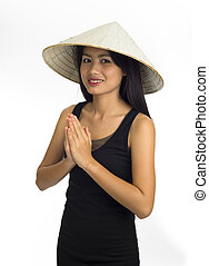 asian girl with welcome expression
