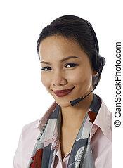 Asian girl working as customer service representative -...