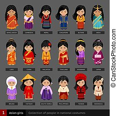 Asian girls in national dress.