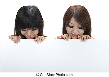 asian girls with blank sign, isolated on white background