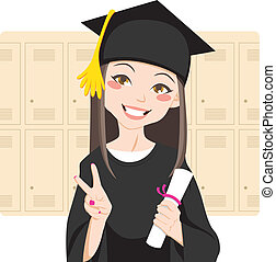 Asian Graduate - Pretty asian woman smiling in front of...