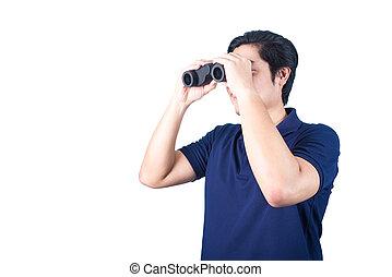 Asian guy holding binoculars, isolated on a white background.