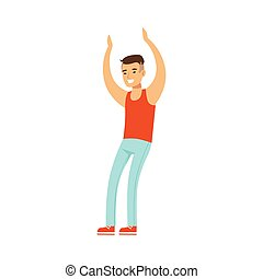 Asian Guy In Top And Jeans Dancing On Dancefloor, Part Of People At The Night Club Series Of Vector Illustrations