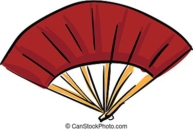 Asian hand fan, vector or color illustration.