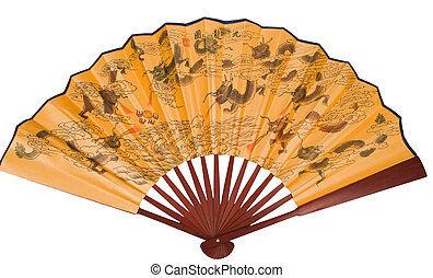 asian hand fan with dragons