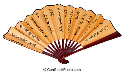 asian hand fan with hieroglyphes