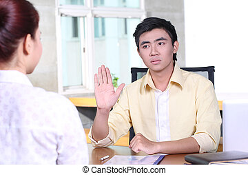 asian handlowy, człowiek, w, akcydensowy interwiew