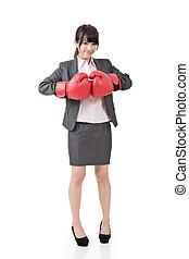 asian handlowy, kobieta, z, boks rękawiczki