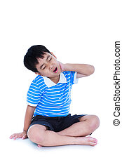 Asian handsome boy have a neck pain. Isolated on white ...