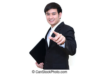 Asian handsome business man pointer a finger with a laptop ,isol