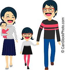 Asian Happy Family Walking - Cute happy four member Asian...
