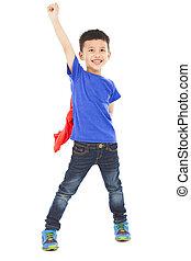 asian happy superhero kid hero raise hand