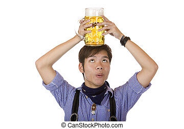 Asian having Oktoberfest beer stein on his hand and says