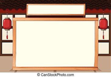 Asian house frame template