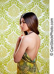Asian Indian brunette beautiful girl sexy back dress