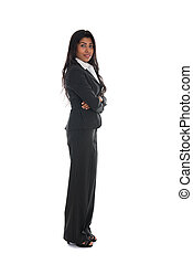 asian indian business woman full length with black suit isolated on white