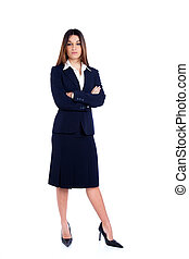 Asian Indian business woman full length with blue suit...
