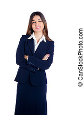 asian indian business woman smiling with blue suit