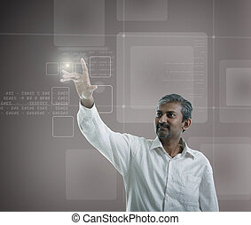 asian indian businessman  pressing high tech type of modern buttons on a virtual background