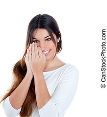 Asian Indian shy brunette girl smiling portrait with hands...