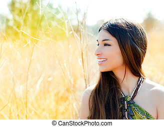Asian indian woman profile portrait in golden field - Asian ...