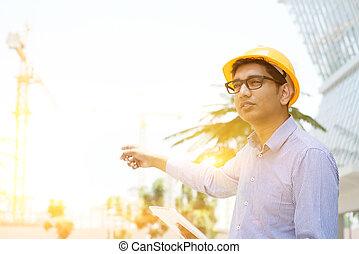 asian, indianin, samiec, kontrahent, inżynier, na, umiejscawiać