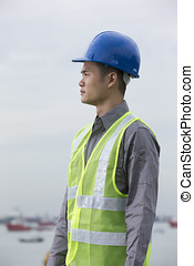 Asian industrial engineer at work - Portrait of a male...