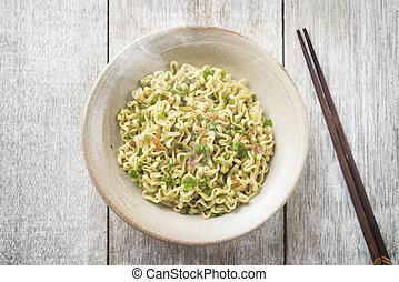 Asian Japanese dried ramen noodles top view
