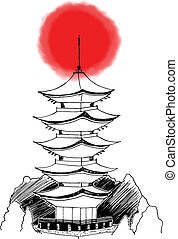 Asian Japanese Pagoda - Stylized hand drawn illustration of...