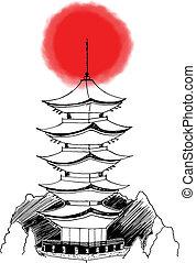 Asian Japanese Pagoda - Stylized hand drawn illustration of...