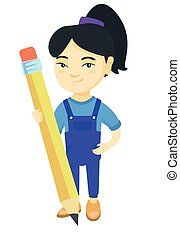 Asian kid girl standing with a huge pencil.