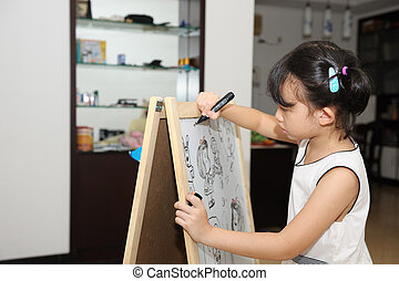 Asian kid painting - Asian kid drawing on the white board