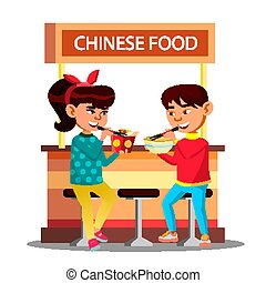Asian Kids Boy And Girl Eating With Chopsticks Sitting On Cafe Vector. Isolated Illustration