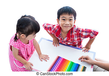 Asian kids prepare create toys from play clay. Strengthen the imagination
