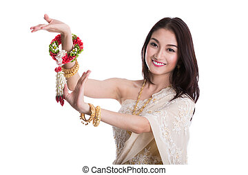 Asian lady in Thai dress costume