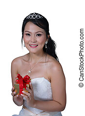Asian lady in white bride dress on isolated white background