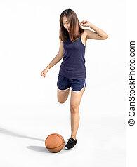 asian lady kick ball in soccer sport
