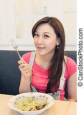 Asian lady ready to eat, closeup portrait.