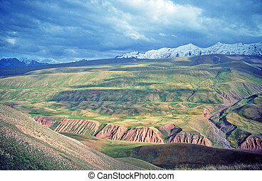 asian landscape of Alay valley, Kyrgyzstan, large vistas of...