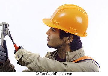asian latino hard hat worker
