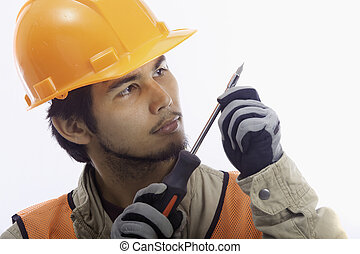 hard hat worker with his tools