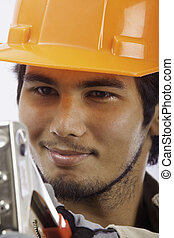 asian latino hardhat worker