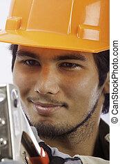 asian latino hardhat worker
