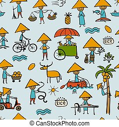 Asian lifestyle people, seamless pattern for your design