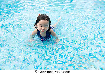 Asian little baby girl in swimming pool
