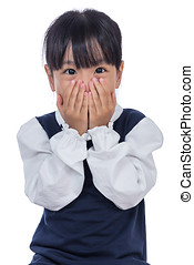 Asian Little Chinese Girl covering her face in isolated...