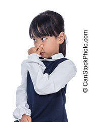 Asian Little Chinese Girl holding her nose