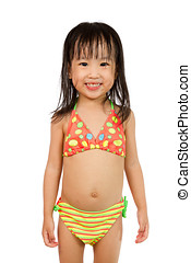 Asian Little Chinese Girl in Swimsuit
