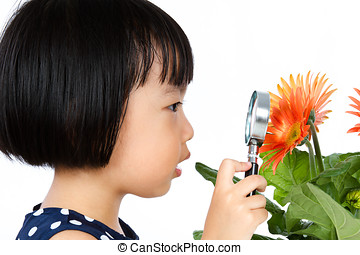 Asian Little Chinese Girl Looking at Flower through a...
